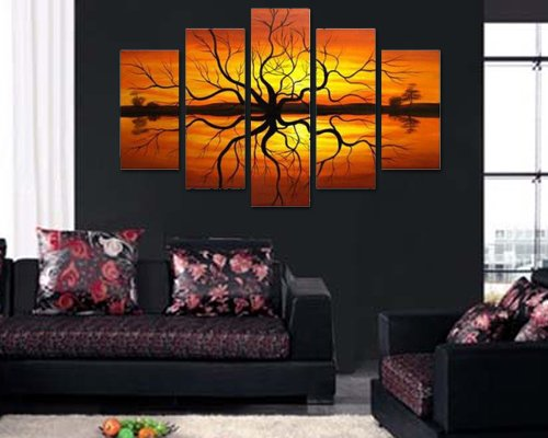 Sangu 100% Hand Painted Wood Framed 5-Piece Sunset Tree River for Landscape Oil Paintings Gift Canvas Wall Art Paintings For Living Room.