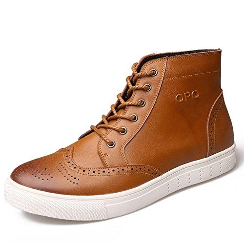 れる伝染病スクラップ[ムリョ] メンズ ハイカット スケートボードシューズ レースアップシューズ デッキシューズ 本革 メンズ 革靴 カジュアルシューズ ショートブーツ おしゃれ イエロー 褐色 25.5CM