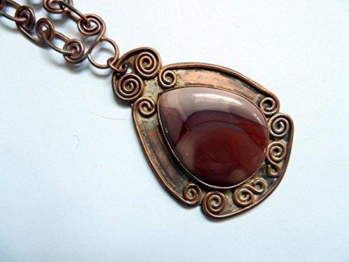 jasper gemstone pendant necklace w/ copper link - Womens Gem Renee