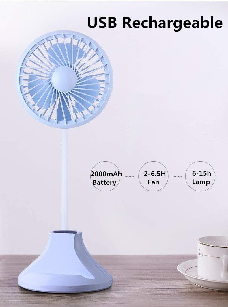 coszz Mini Desk Fan Rechargeable Battery USB Fan 3 Speeds 3 Brightness Quiet Compact Multi-function Small Bed Fan for Bedroom Office Study Lab (White) Blue