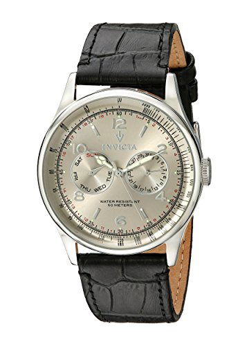 Invicta Men's 6749 Vintage Silver Dial Black Leather Watch ()