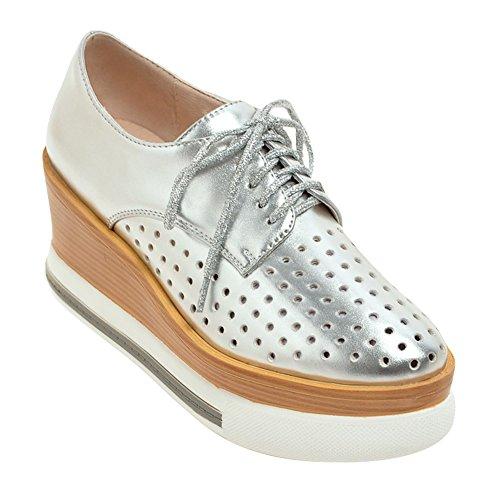 Latasa Mujeres Spring & Summer Holes Plataforma Con Cordones Oxford Cuñas Zapatos Plata