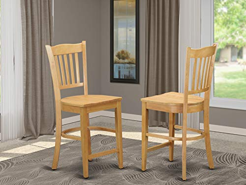 Groton Counter Stools With Wood Seat In Oak Finish (Used Dining Chairs)