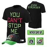 WWE John Cena T-shirt , Cap , Sweatbands strong Wristbands 5 Piece Set Wrist RAW (S, Black)