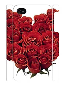 3D Print Sweet Stylish Rose Bloom Hard Plastic Phone Protective Case for Iphone 4 4S