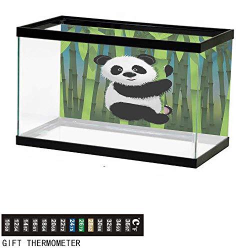 - wwwhsl Aquarium Background,Cartoon,Curious Baby Panda on Stem of The Bamboo Bear Jungle Wood Illustration,Fern Green Black White Fish Tank Backdrop 36
