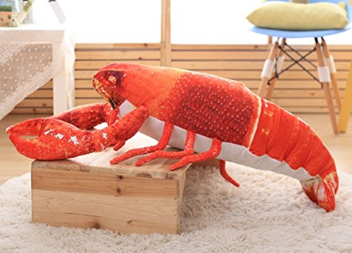 Skyseen 3D Lobster Throw Pillow Soft Plush Bolsters Crawfish Stuffed Shrimp Toy Home Decoration 35.4'' (Red Decor Lobster)