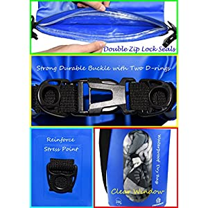 Waterproof Dry Bags Set Of 3 By Freegrace - Dry Bag With 2 Zip Lock Seals & Detachable Shoulder Strap, Waist Pouch & Phone Case - Can Be Submerged Into Water - For Swimming (Navy Blue(Window), 10L)