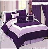 Soft Micro Suede Comforter Set bedding-in-a-bag, Purple - Queen