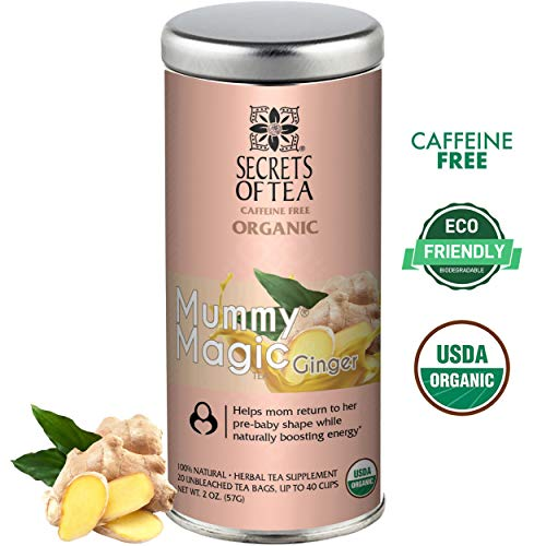 Mummy Magic Weight Loss Organic Ginger Tea, Postpartum Energy Tea, 20 unbleached tea bags, Up to 40 servings, Naturally Increase Metabolism & Maintain Healthy Energy Levels, Improve Digestion ()