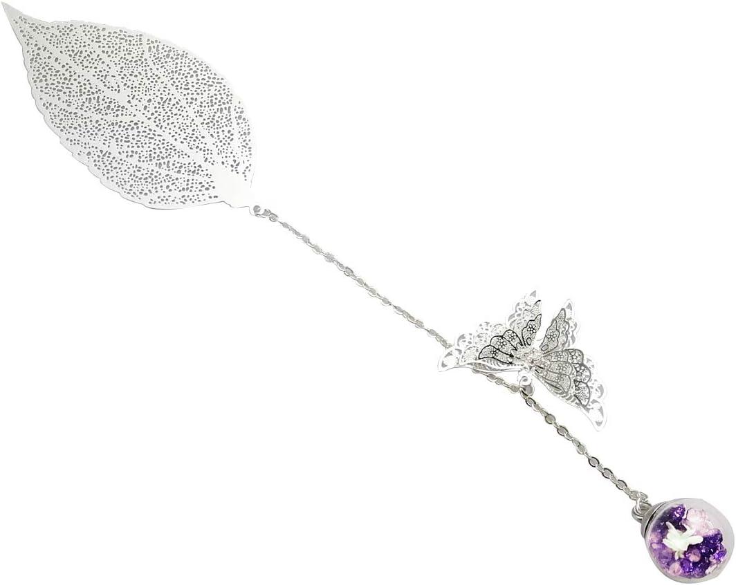 donne e bambini. con farfalla 3D e perle di vetro Ciondolo eterno a fiore secco Toirxarn Squisito segnalibro a foglia metallica Regalo ideale per lettori