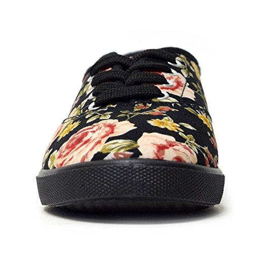 H2k Sports Womens [leggero] Moda Allacciate Comode Sneakers Ammortizzate Scarpe Casual Fiore E Nero