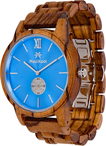 Wooden Watch For Men Maui Kool Kaanapali Collection Analog Large Face Wood Watch Bamboo Gift Box (C2 - Blue Face)