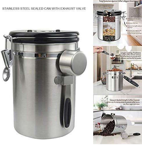 Kaffeedose 1 Edelstahl 1800ml mit Ventil f/ür die K/üche Suppyfly luftdichter Kaffeedose