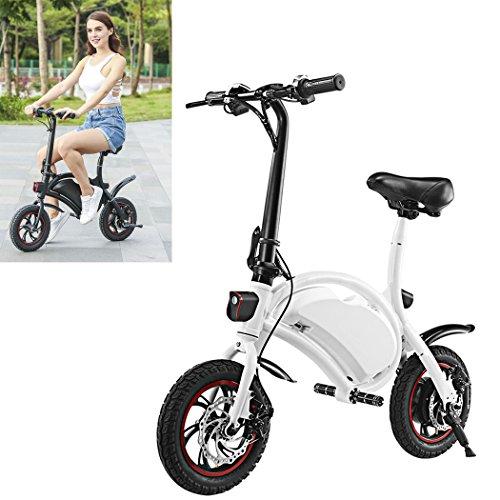 Wireless Smart E-Bike 350W 36V Folding Electric Bicycle with 15 Mile Range Cruise Control / APP Speed Setting (White)