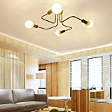 Lingkai Ceiling Light Fixture Metal Art Semi Flush Mount Ceiling Pendant Light Retro 4-Light Sputnik Chandelier