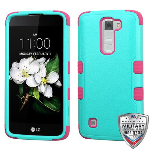 MyBat Cell Phone Case for LG K7 (Tribute 5) - Retail Packaging - Green/Pink/Teal