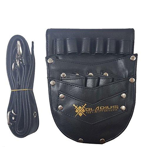 Leather Hair Scissor Holster Hairdressing Bag Pouch Holder with Waist Shoulder Belt Black Pouch Gladius