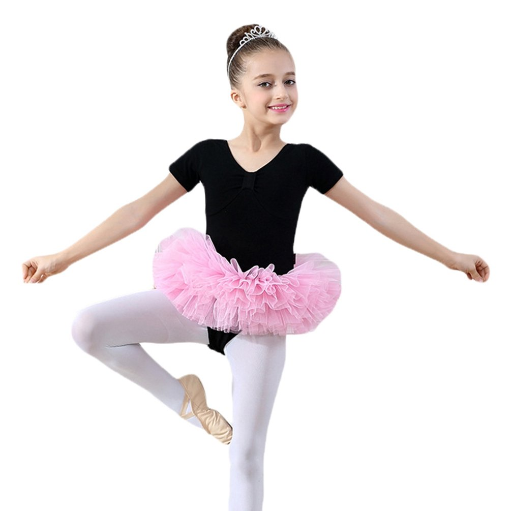 Yiiquan Ragazze Bambini Body Danza Classica Gonna Manica Corta Balletto Leotard Tutu Dancewear