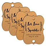 Summer-Ray 48pcs Personalized Brown Kraft Little Violin with Leaves Print Wedding Sparkler Tags Let Love Sparkle