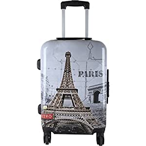 Grey Paris Eiffel Tower Theme Luggage 1-Piece 24-Inch, World Tour Pattern, Stylish, Fashionable, Lightweight, Expandable, Locking, Hardsided, Upright Rolling Carry On Suitcase, For Girls/Teen