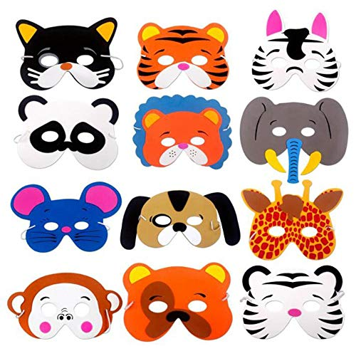 Animal Masks for Kids Party -12 Assorted Felt Masks, Birthday Parties Supplies Halloween Masks Dress-Up Party Accessory Assorted Foam Animal Masks for Birthday Party Dress-Up Costume?Random Style? ()
