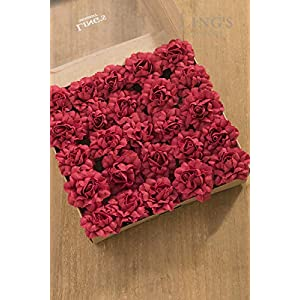 Ling's moment Artificial Flowers 7cm Dia Head Dark Red Open Rose Carnations 25pcs Real Looking Fake Carnations w/Stem for DIY Mother's Day Wedding Bouquet Centerpieces Arrangements Flower Decorations 2