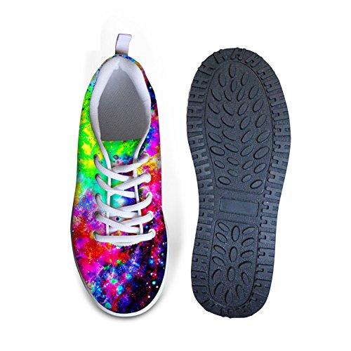 Scarpe Da Passeggio Da Donna Galassia Con Zeppa 3d Scarpe Con Zeppa Stringate Sneakers Donna Casual Traspirante Modello Medio Con Tacco 6