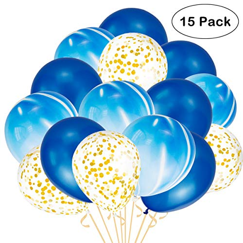 Confetti Balloons, Rose Gold Champagne Gold White Purple Light Pink Sea Foam Blue Assorted Balloons for Wedding Hawaii Graduation Birthday Party Baby Shower Christmas Decoration Supplies (Blue)