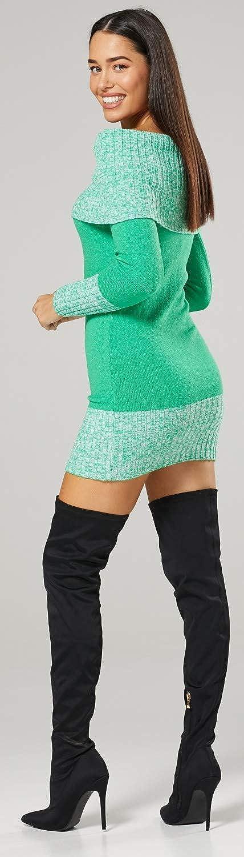 913p Happy Mama Womens Maternity Bardot Knitted Jumper Dress Pullover Sweater