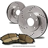 (Front Kit)(High-End) 2 Cross-Drilled Disc Brake Rotors + 4 Ceramic Pads(Fits:- 6lug)
