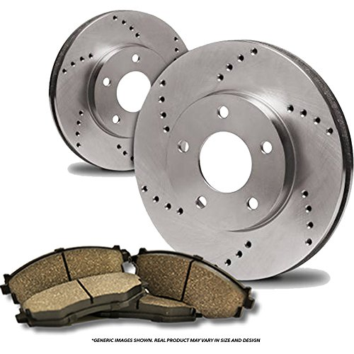 (Front Kit)(High-End) 2 Cross-Drilled Disc Brake Rotors + 4 Ceramic Pads(Acura Isuzu Honda)(6lug)