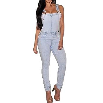 Las mujeres moda denim Jeans babero pantalones Mono correas Mono Pelele Pantalones, mujer, L: Amazon.es: Deportes y aire libre