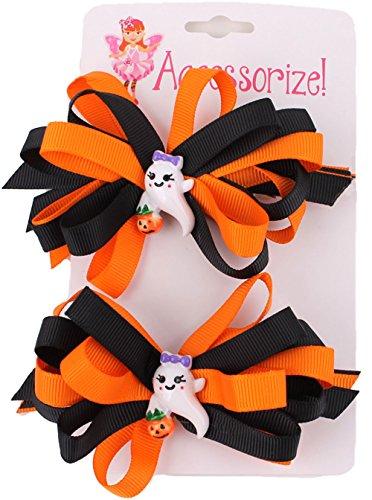 Halloween Ghost Hair Bow Pair - Costume Posh Girl Spice