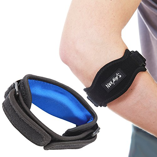 NuKaaS Tennis Elbow Brace – Pack of 2 Braces with Compression Pad + 2 Additional Straps - Perfect Band for Tennis & Golfer's Elbow Pain, Relieves Tendonitis and Forearm Pain, Great For Injured Arms