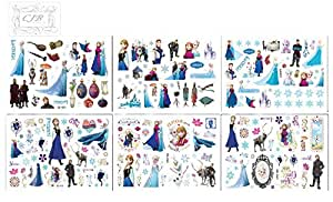 CJB Frozen - 6 hojas de tatuajes temporales Elsa y Anna, 90 diseños diferentes