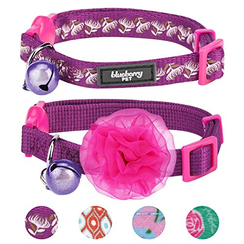 Blueberry Pet 4 Designs Pack of 2 Cat Collars, The Power of All in One Stunning Plum Adjustable Breakaway Cat Collar with Bell & Detachable Flower, Neck 9