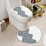 L-QN 2 Piece Toilet Toilet Mat Decor Arabesque Pattern Vintage Damask Effects Curved Persian Floral Arabian Teal Non-Slip Soft Absorbent Bath