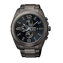 Seiko Men's SSC203 Black Hard-Coated Solar Chronograph Watch