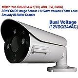 101AV 1080P True Full-HD Security Bullet Camera 4IN1(TVI, AHD, CVI, CVBS) 2.1Megapixel CMOS Image Sensor 2.8-12mm Variablefocus Lens IR In/Outdoor Auto Iris OSD Dual Voltage 12VDC/24VAC (White)