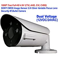101AV 1080P True Full-HD Security Bullet Camera 4IN1(TVI, AHD, CVI, CVBS) SONY 2.1Megapixel CMOS Image Sensor 2.8-12mm Variablefocus Lens IR In/Outdoor Auto Iris OSD Dual Voltage 12VDC/24VAC (White)