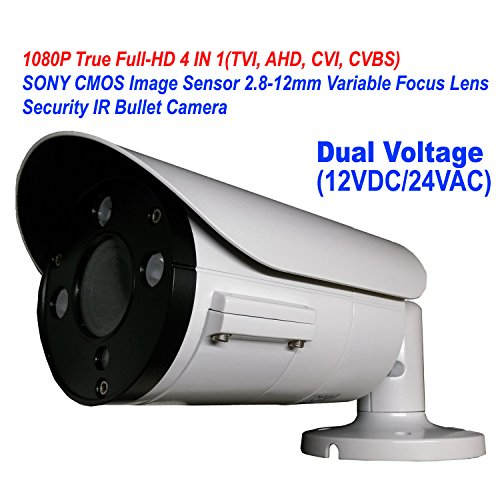 101AV 1080P True Full-HD Security Bullet Camera 4IN1(TVI, AHD, CVI, CVBS) 2.1Megapixel CMOS Image Sensor 2.8-12mm Variablefocus Lens IR In/Outdoor Auto Iris OSD Dual Voltage 12VDC/24VAC (White) 12mm Lens Bullet Housing