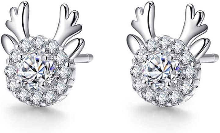 Cdet. 1 Par Pendientes Moda pequeños Alces para Mujer Pendientes Brillantes Copos de Nieve Diamantes de imitación Navidad Damas Joyas Regalos(Plata) 0.8 * 0.9 * 0.3cm
