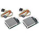 Wangdd22 2PCS MAX7219 Dot Matrix Display Module Single-Chip Control LED Module DIY Kit for Arduino with 5pin Line