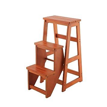 Taburete plegable de madera 3 niveles Silla de escalera ...