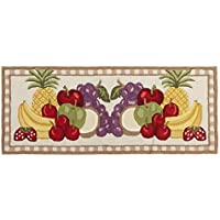 Northeast Home Goods Assorted Fruit Hand-Hooked Area Rug Runner, 22-inch x 54-inch