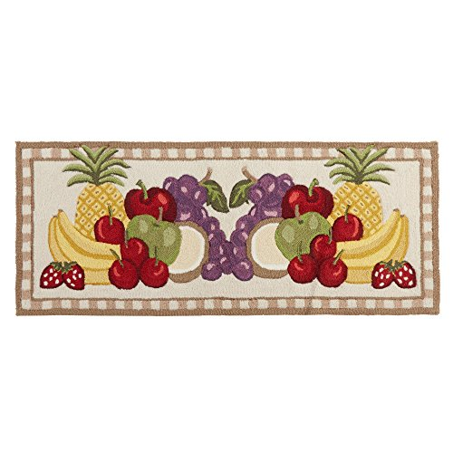 (Northeast Home Goods Assorted Fruit Hand-Hooked Area Rug Runner, 22-inch x 54-inch)