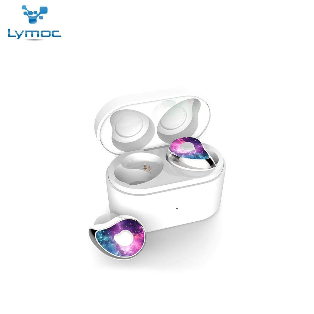 LYMOC Newest Wireless Bluetooth 5.0 Bluetooth Earphone Earbuds Mini Sport Earphones with CVC8.0 Noise Cancelling HD Mic with Charging Box HiFi Handsfree for iPhone/Samsung (Sky Purple)