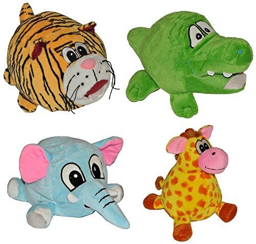 4 er Set: Türstopper als Plüsch Tier / Giraffe - Krokodil - Elefant - Tiger / Wandpuffer Türpuffer Stoff Türkeil für Kinder Fensterstopper