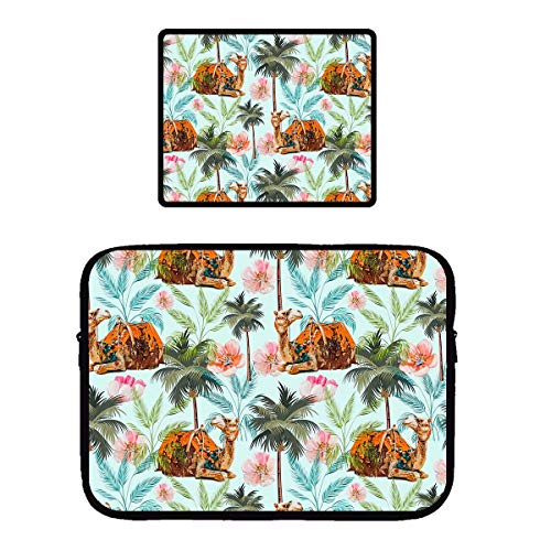 - Beach Surfer Camel Ride with Trees Flowers Gaming Mouse Pad & Laptop Sleeve Bag Case Protector Computer Bag Case Mousepad for Women Men Girls Boys